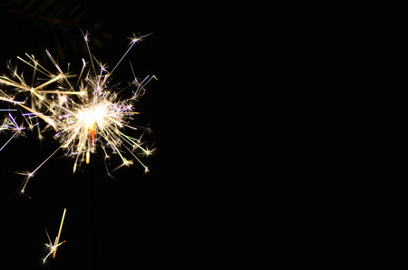 beautiful burning sparkler on christmas with black background Banque d'images