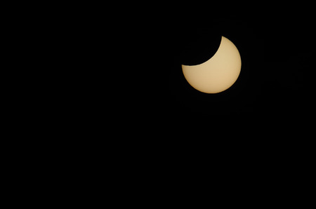 solar eclipse: beautiful partial solar eclipse with black sky Stock Photo