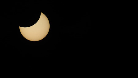 solar eclipse: beautiful partial solar eclipse panorama view
