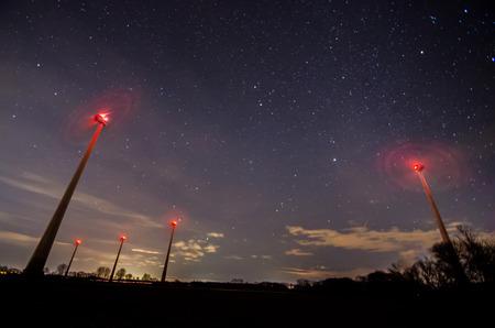 pinwheels: many pinwheels and starry sky at night Stock Photo