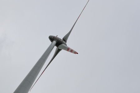 wind force: single windmill and white sky