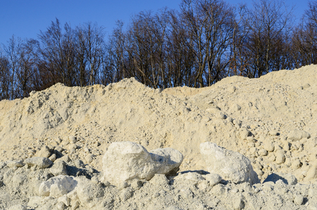 natur: white limestone quarry and blue sky in the natur