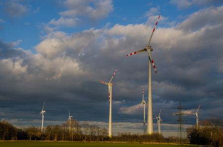 wind force: pinwheels and dark clouds on the sky
