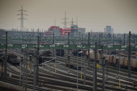 shifting: large shifting station in vienna Stock Photo