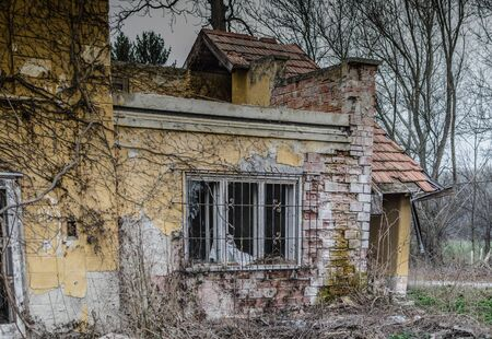 abandoned old house with brick