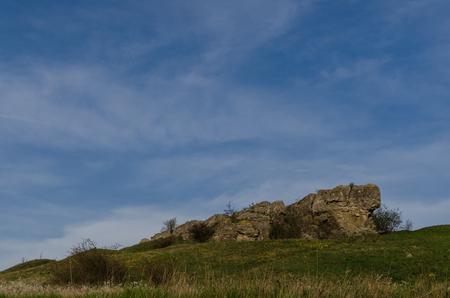 large rock: large rock in nature with blue sky