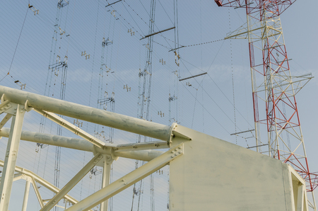 statics: large transmitting system details view Stock Photo