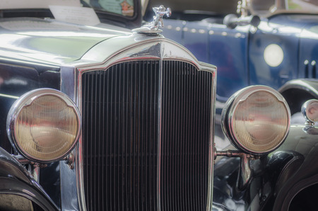kilometres: beautiful front view of old classic car