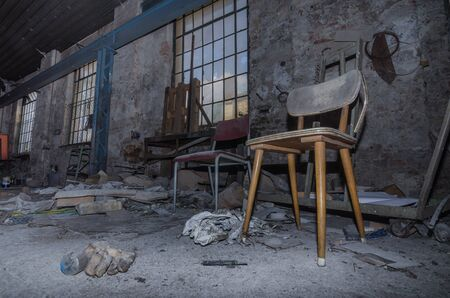 abandoned factory: old abandoned factory with objects Stock Photo
