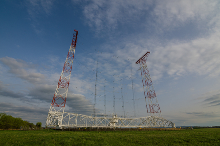 statics: high transmitting system in the green nature with blue sky
