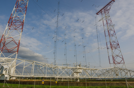 high frequency: large shortwave transmitting system in nature Stock Photo