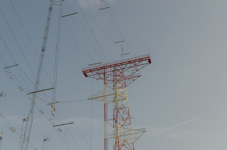 high frequency: large transmitting system view in the sky Stock Photo