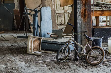 abandoned factory: many objects in an old abandoned factory Stock Photo