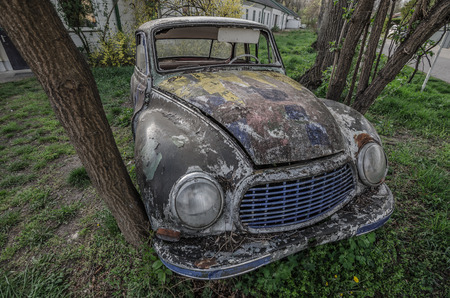 kilometres: old colorful classic car view above Stock Photo