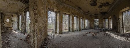 going places: old hunting lodge Inside view panorama Stock Photo