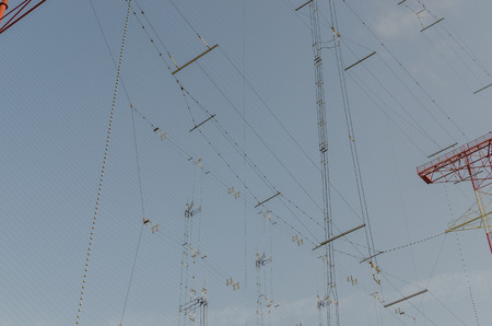 high frequency: many connections lines of a transmitting systeme Stock Photo