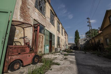 going places: abandoned old factory ground of a factory