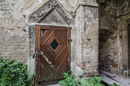 entrance door made of wood from old castle