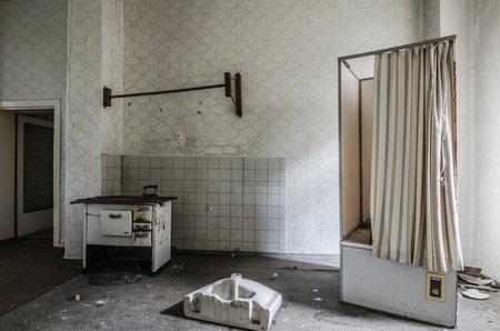 going places: stove and shower in an old house