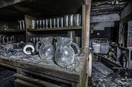 many glasses in a closet after a fire