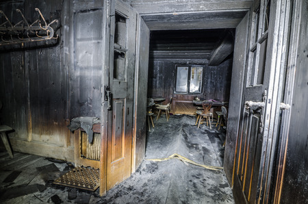 burnt black room after fire Stock Photo