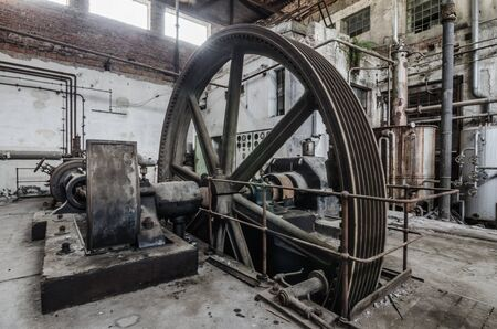 drive wheel with gear in abandoned factory