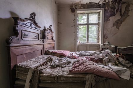 old abandoned bedroom in a house
