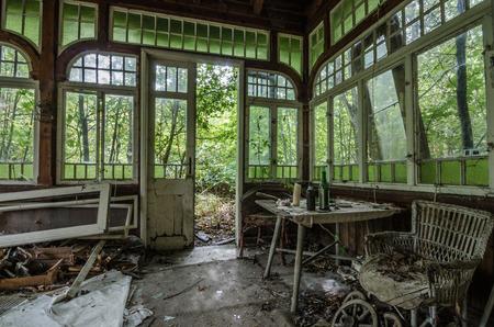 uninhabited: abandoned beautiful old winter garden