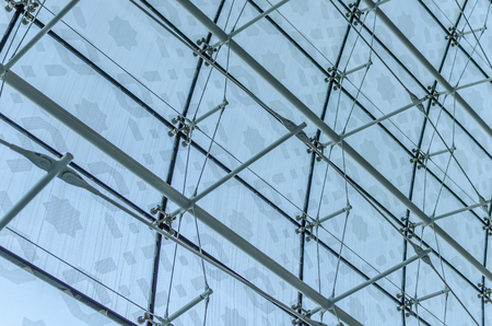 windowpanes: many windowpanes with roof construction at the airport Stock Photo