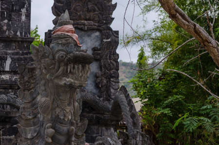 dragon sculpture in a temple in Bali