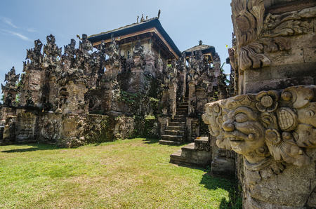pura beji temple with many ornaments in bali indonesia