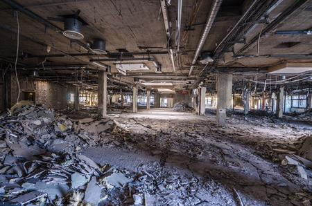 uninhabited: old hospital and destroyed dismantled floor Editorial