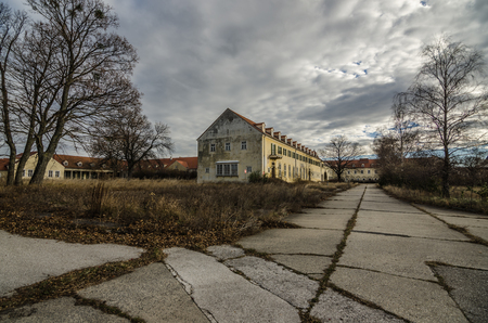 large buildings and many paths in abandoned barracks Stock Photo
