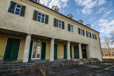 old buildings of abandoned barracks Stock Photo