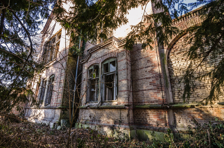 uninhabited: old abandoned mansion in the forest