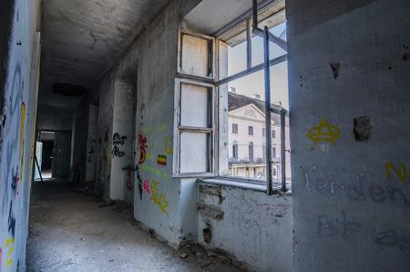 window with dark corridor in old castle Editorial