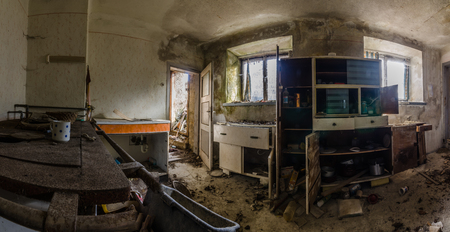 abandoned old kitchen panorama view 스톡 콘텐츠