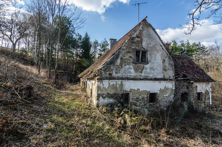 abandoned farmhouse in the mountains