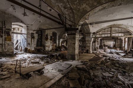 abandoned paper mill and building with vault Stock Photo