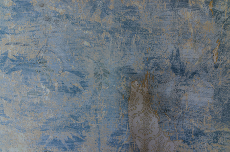 blue wallpaper in old house 스톡 콘텐츠