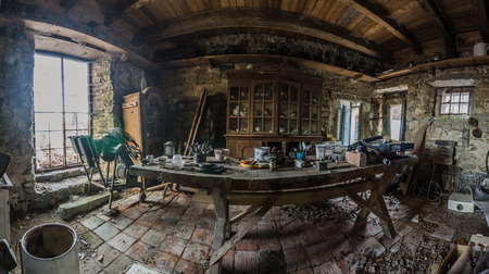 table and objects in house on lake panorama view