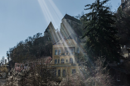 old abandoned hotel with sunbeams Stock Photo