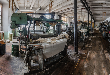 machinery hall in spinning mill panorama view