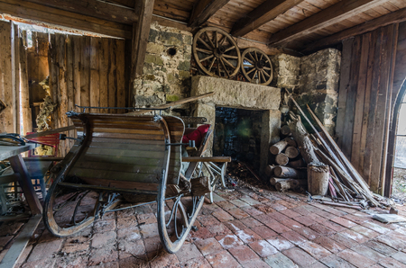 wooden sled in abandoned house Stock Photo