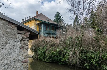 beautiful old villa at a creek Stock Photo