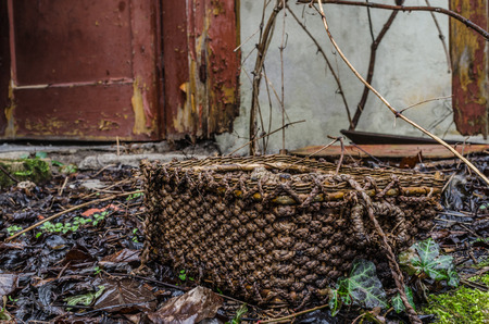 straw basket in an abandoned house