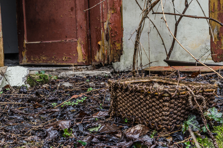 straw basket at abandoned old house 스톡 콘텐츠
