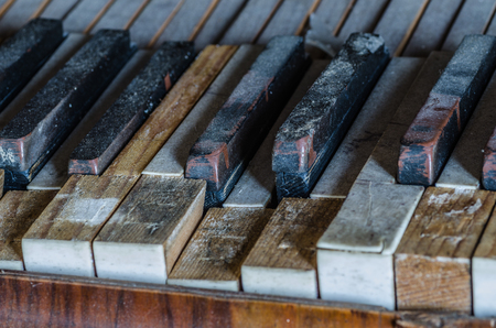 keys of old piano detail view 스톡 콘텐츠