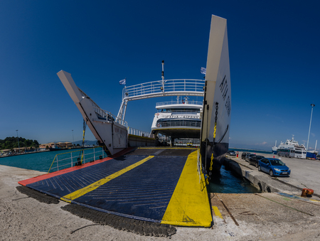 loading ramp from big ship panorama view