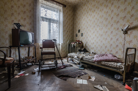 room with rollator in uninhabited house